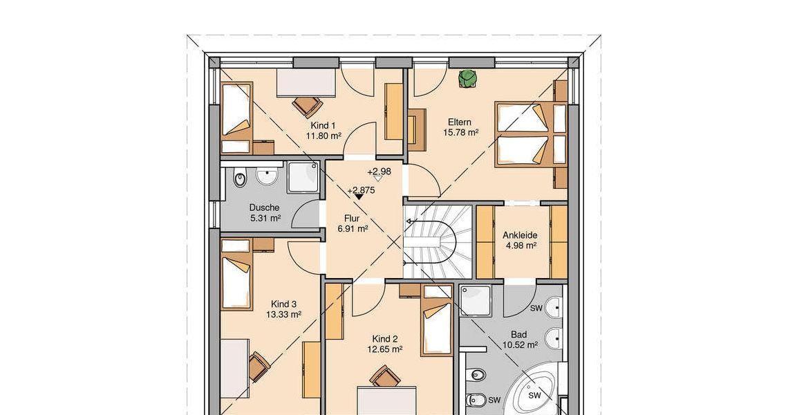 Massivhaus grundriss  Massivhaus Kern-Haus Stadtvilla Centro Grundriss Obergeschoss ...