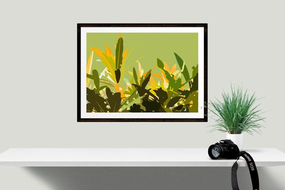Tropical leaf art print, Abstract leaf wall decor, Unique gift idea ...