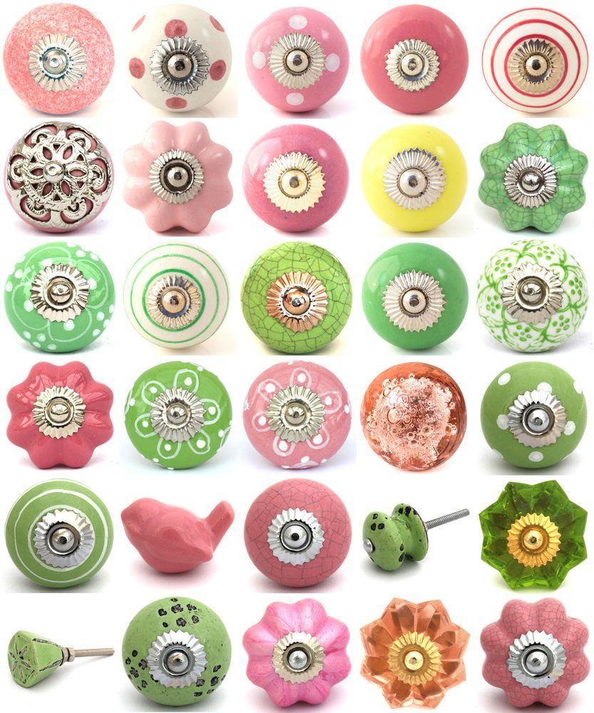 Pink green ceramic knobs drawer pulls cupboard door knobs porcelain ...