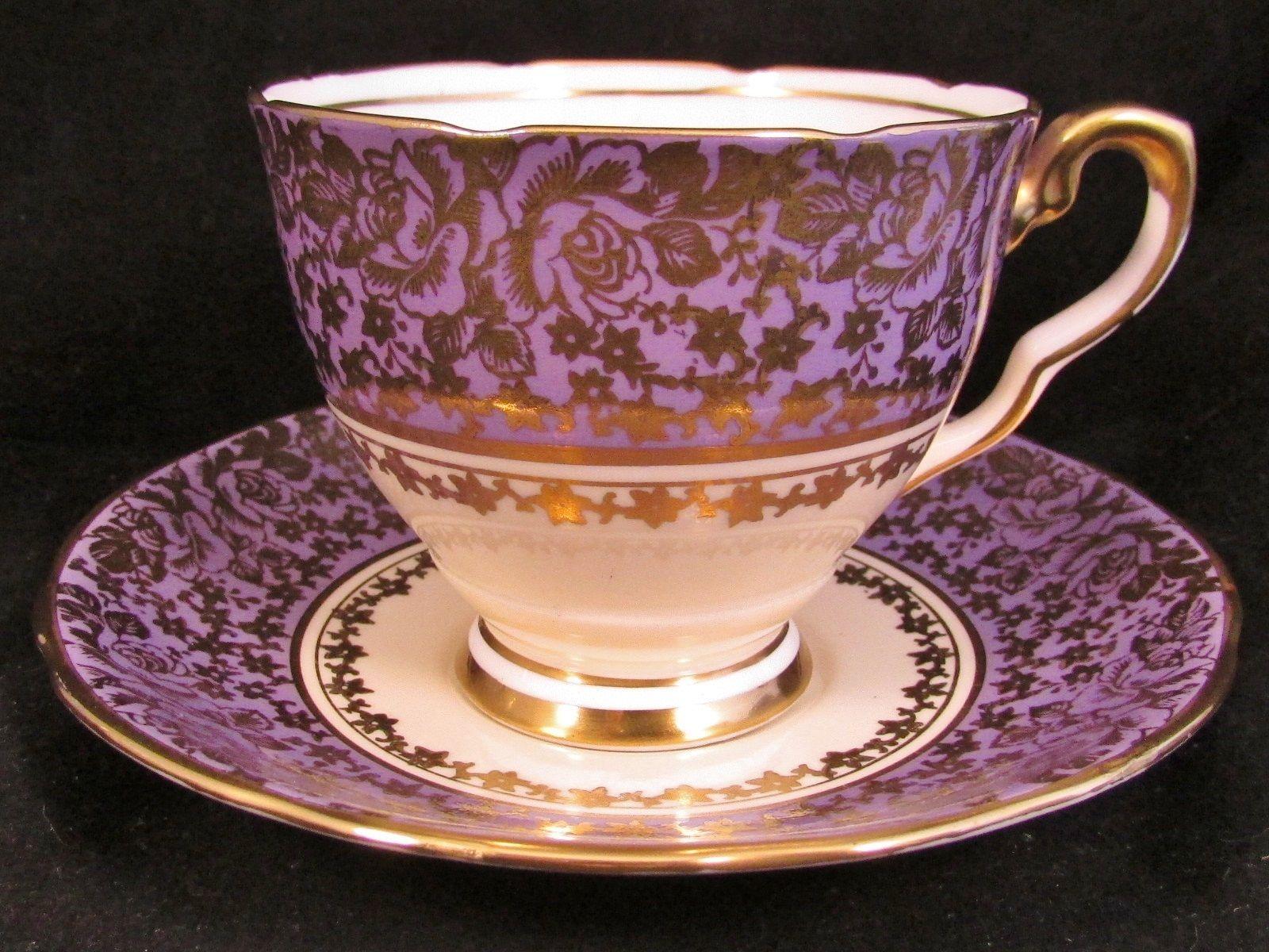 Royal albert bone china tea cup amp saucer winsome pattern ebay - Royal Stafford Purple Gold Gilt Rose Chintz Tea Cup And Saucer Ebay