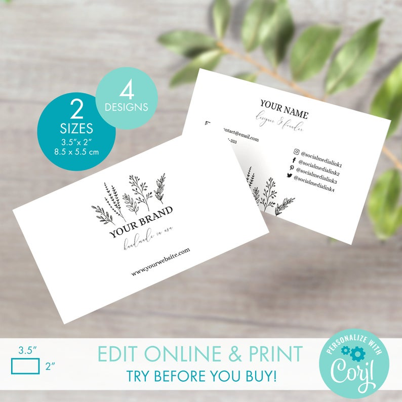 Editable Floral Business Card Template 4 Designs Printable Custom Business Card Design Diy Simple Botanical Business Card Template In 2020 Printable Business Cards Business Card Template Business Cards Design Diy