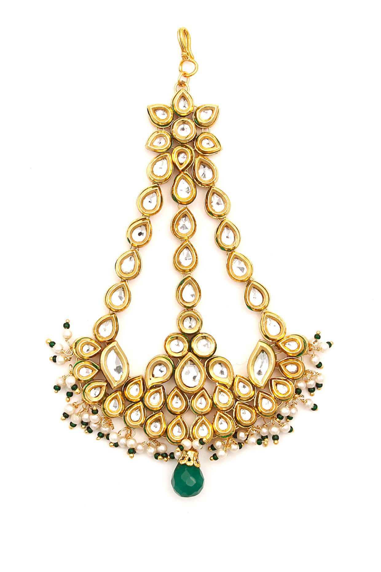 Gold plated green quartz and kundan passa available only at