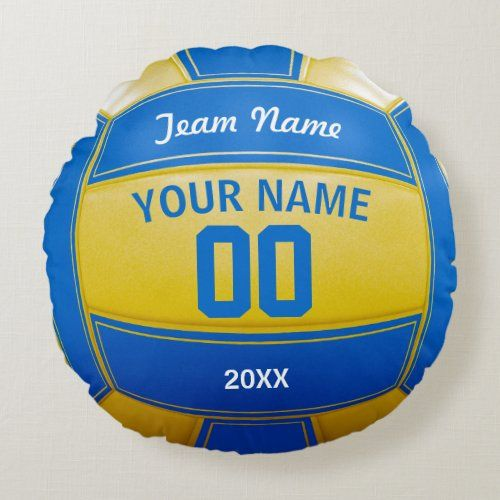 Volleyball Player's Name Year Team Blue and Yellow Round Pillow