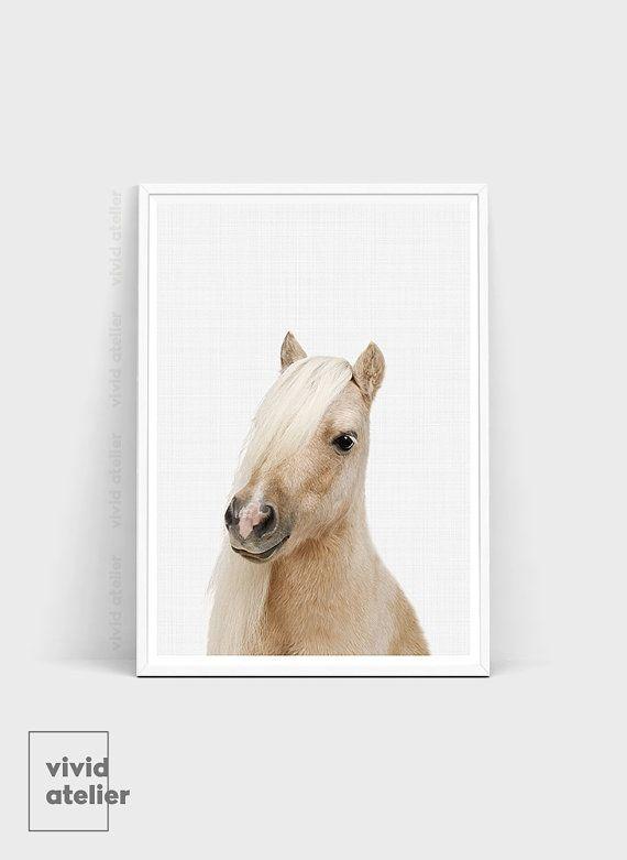 Pony Printable Horse Wall Art Nursery Animal Print by VividAtelier