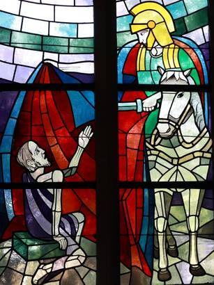 St Martin Und Der Bettler In Einer Darstellung Im Kirchenfenster Geschichte Kirchenfenster Sankt