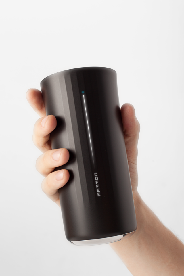 Vessyl, a 13-ounce cup that recognizes any beverage you pour into it, displays its…