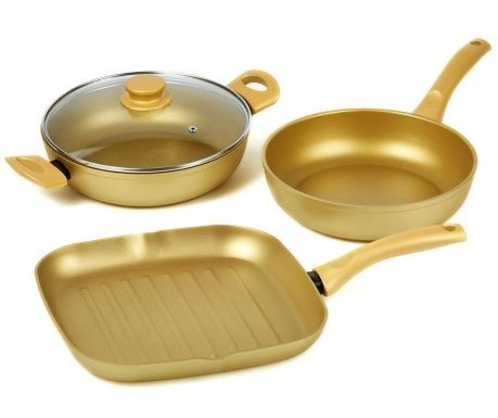 Štvordielna sada na varenie Stone Gold Matte Gold
