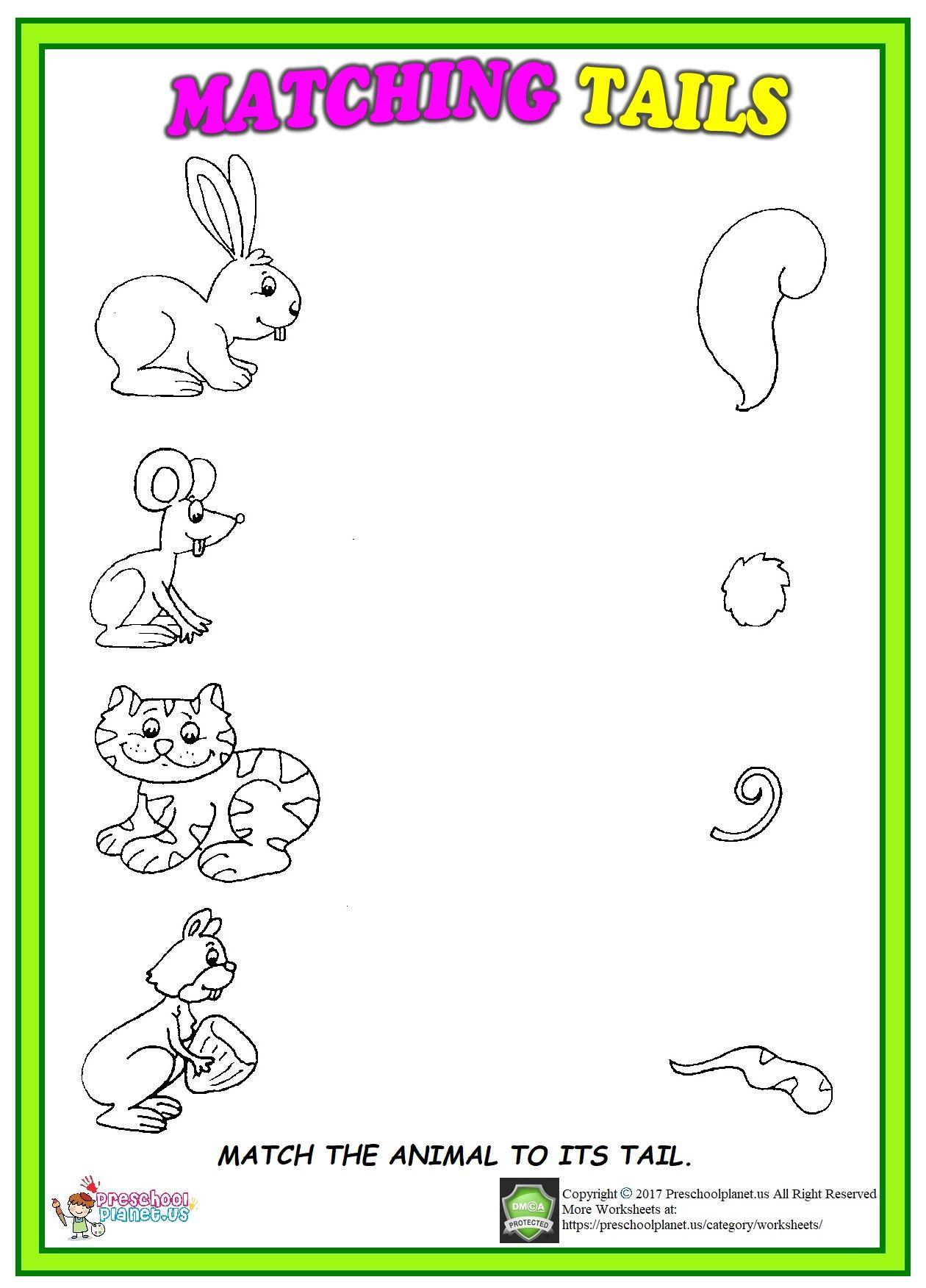 animal tails matching worksheet coloring activities matching worksheets animal tails. Black Bedroom Furniture Sets. Home Design Ideas