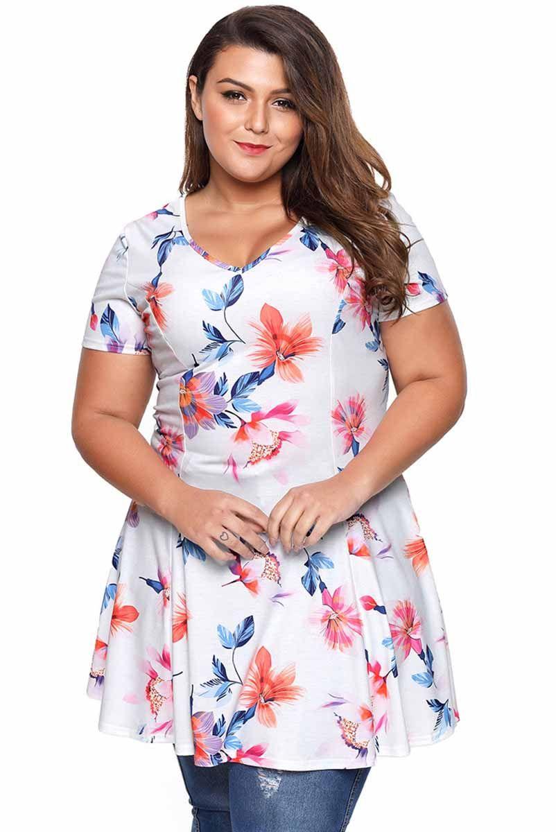73d523978d4 Women s  pink short sleeve  PlusSize mini  dress floral pattern print  allover