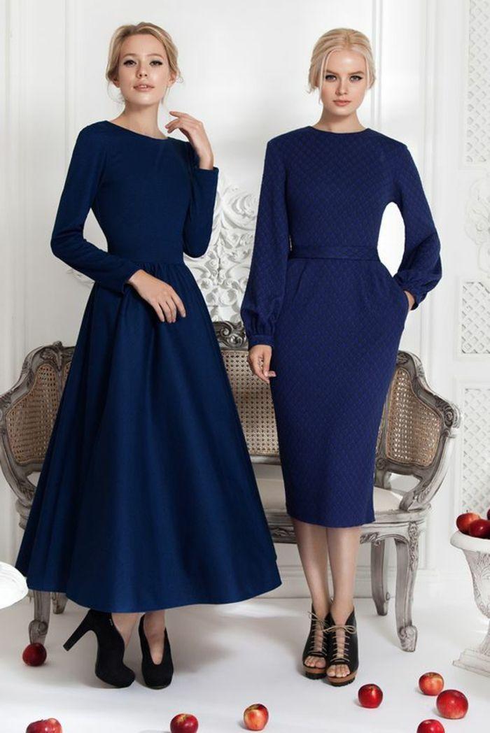 22f91069509 robes de soirée pour mariage robe bleu marine avec des cols ronds des  modèles rétro en vogue