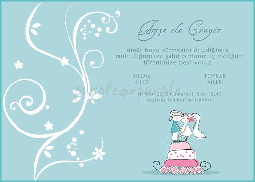 Romantik bir düğün davetiyesi