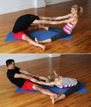 partner wideleg seated forward bend  hatha yoga poses