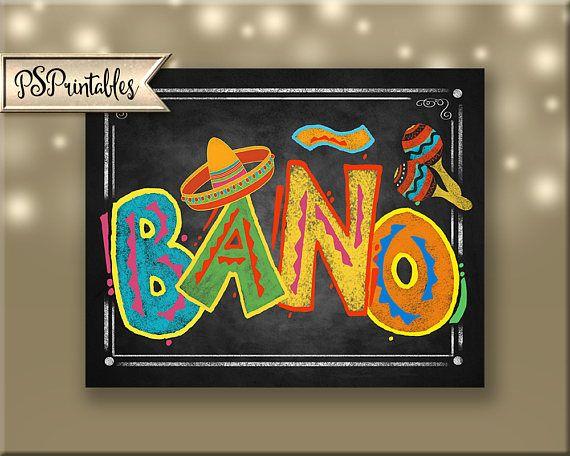 Printable Fiesta Bano Bathroom signs in chalkboard style ...