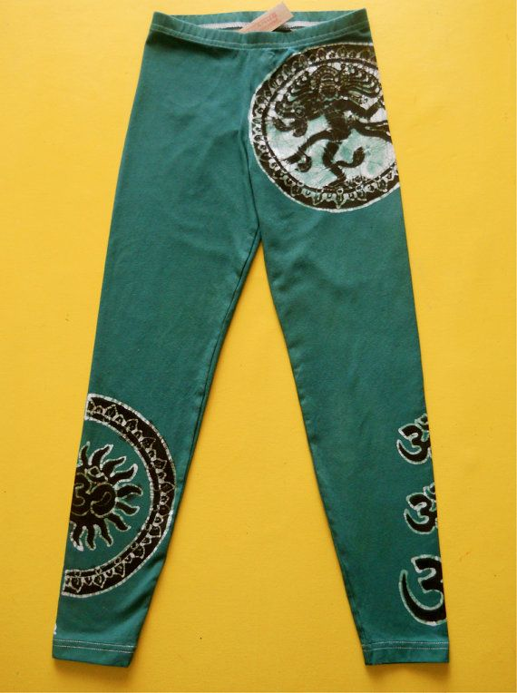 Shiva Batik Eco Yoga leggings hand painted & hand dyed women green - athletic pants - Size XS, S, M, L, XL