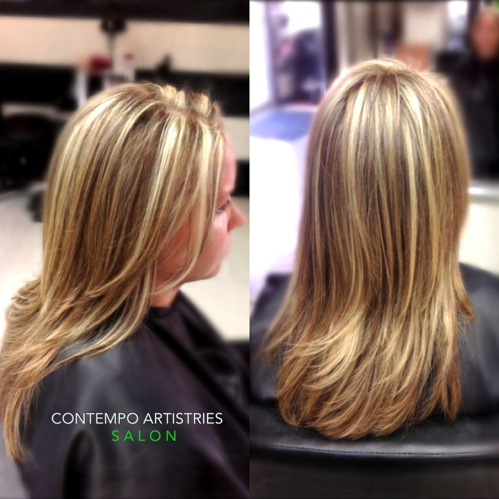 Bright blonde highlights and deep chocolate lowlights by Kristen ...