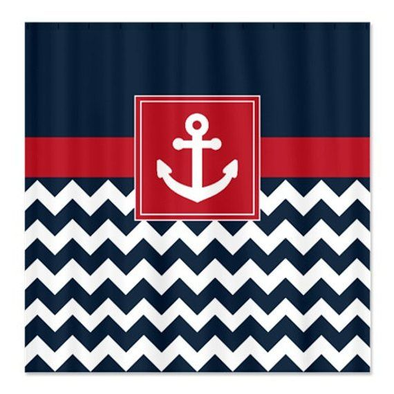 Nautical Shower Curtain Navy And White Chevron Brick Red Anchor Customize With Colors Of Your Choice