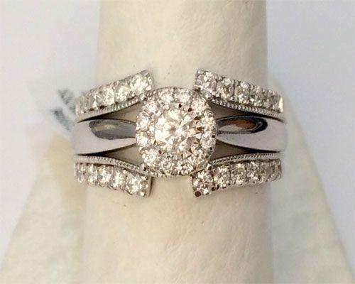 14k White Gold Solitaire Enhancer 1 X2f 2c Diamond Ring Guard