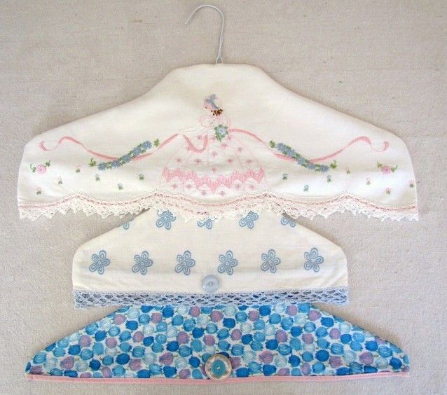 Repurpose & upcycle vintage pillowcases into hanger covers. Click on ...