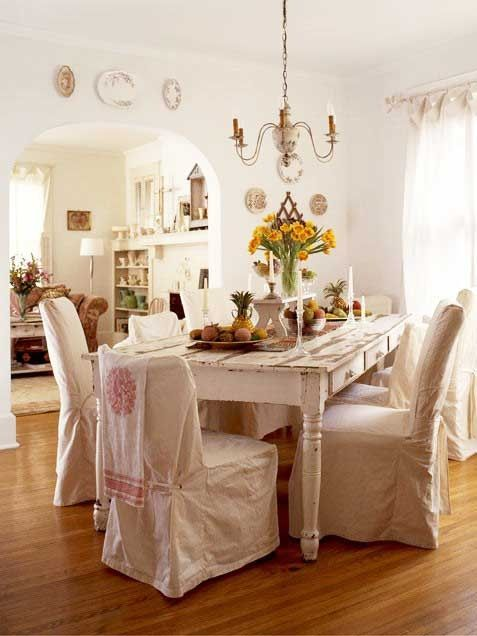 White Farmhouse Dining Room Table | Farmhouse Table White Chairs Covers  Dining Room |