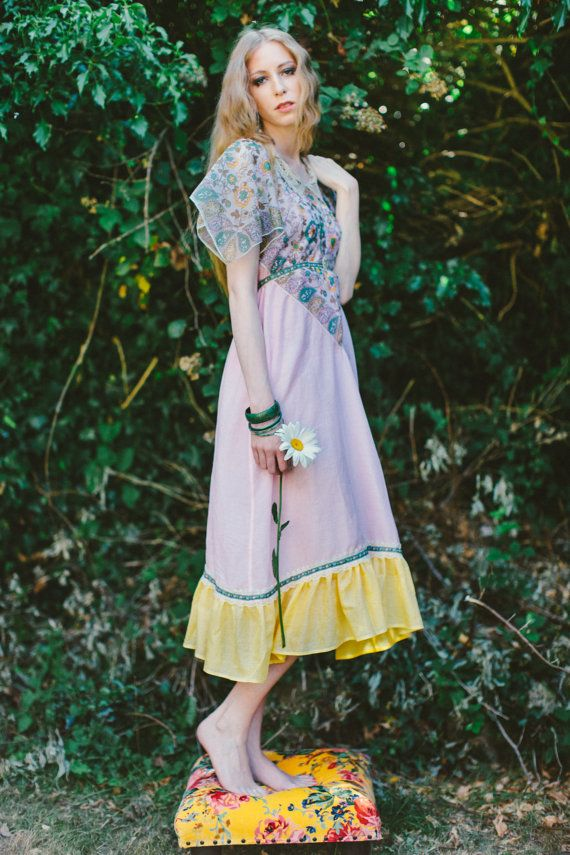 Pink floral dress vintage inspired dress 1970s by AliceHalliday