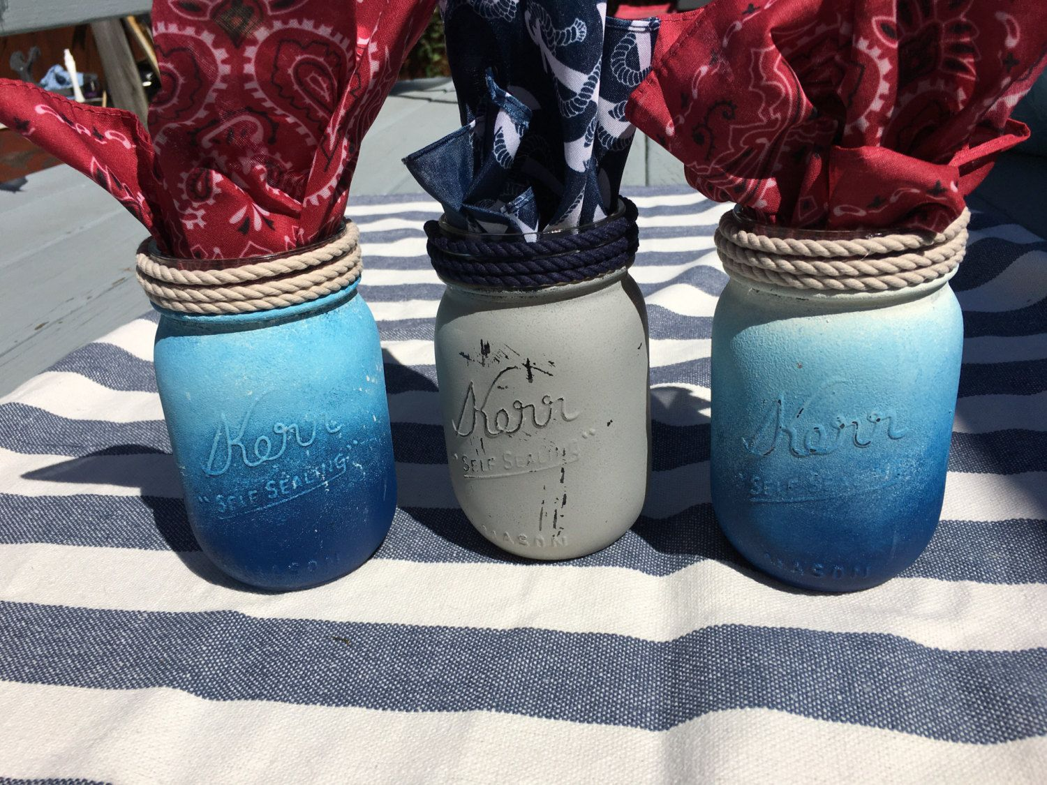 Set of 3 Handpainted Mason Jars Nautical by TopcoatAndTailsSigns on Etsy