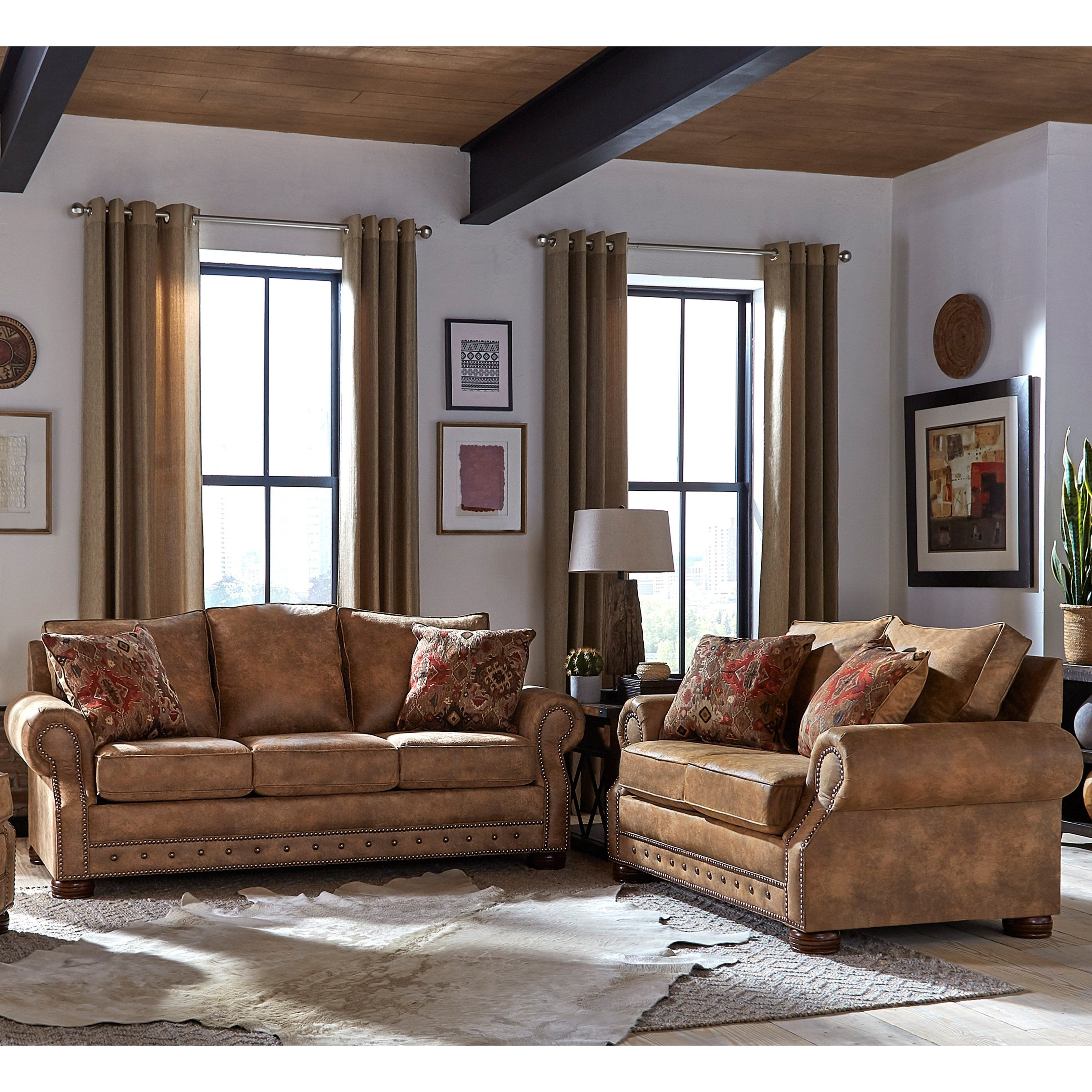 Made In Usa Rancho Rustic Brown Buckskin Fabric Sofa Bed And Loveseat With Images Living Room Sets Sofa And Loveseat Set