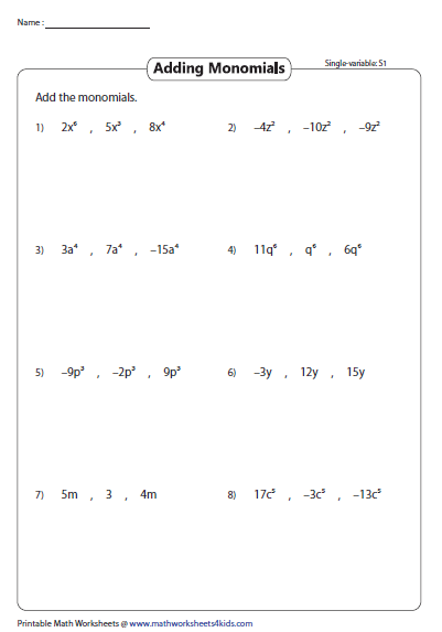 Adding Three Monomials Single Variable Worksheets Ads Math