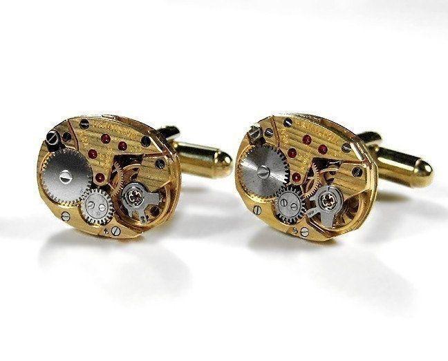 Photo of Steampunk Jewelry Mens Cufflinks Gold HAMILTON Pinstripe Watch Cuff Links Weddin…