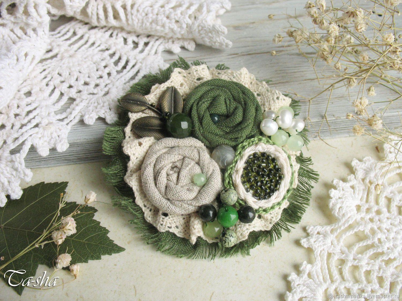 Брошь цветок зеленый