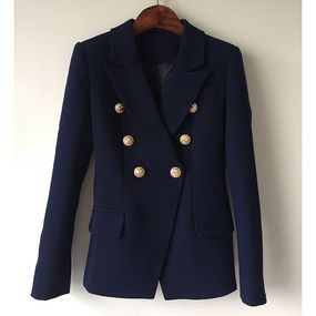 Newest Fall Winter 2019 Designer Blazer Jacket Womens Lion Metal Buttons Double Breasted Synthetic Leather Blazer Overcoat Women's Clothing Suits & Sets