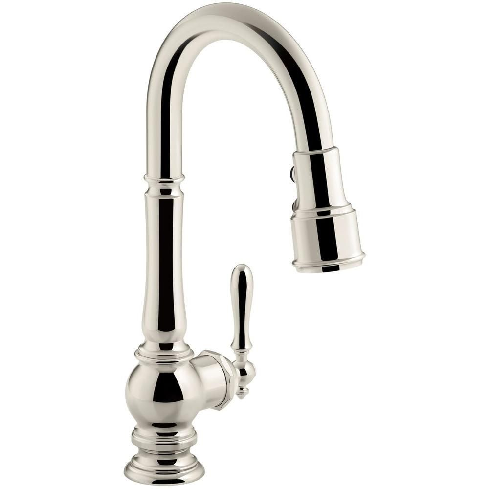 Kohler Artifacts Single Handle Pull Down Sprayer Kitchen Faucet In Vibrant Polished Nickel Kohler Artifacts Kitchen Sink Faucets Sink Faucets