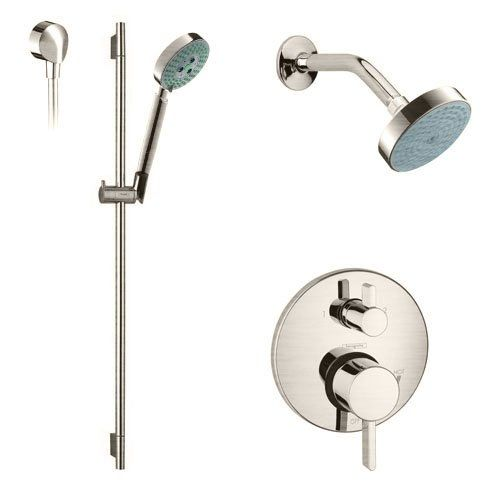 Hansgrohe S Series Pressure Balanced Shower System With Multi Function  Shower Head, Hand Shower, Slide Bar And Valve Trim   Rough In Valve  Included Image