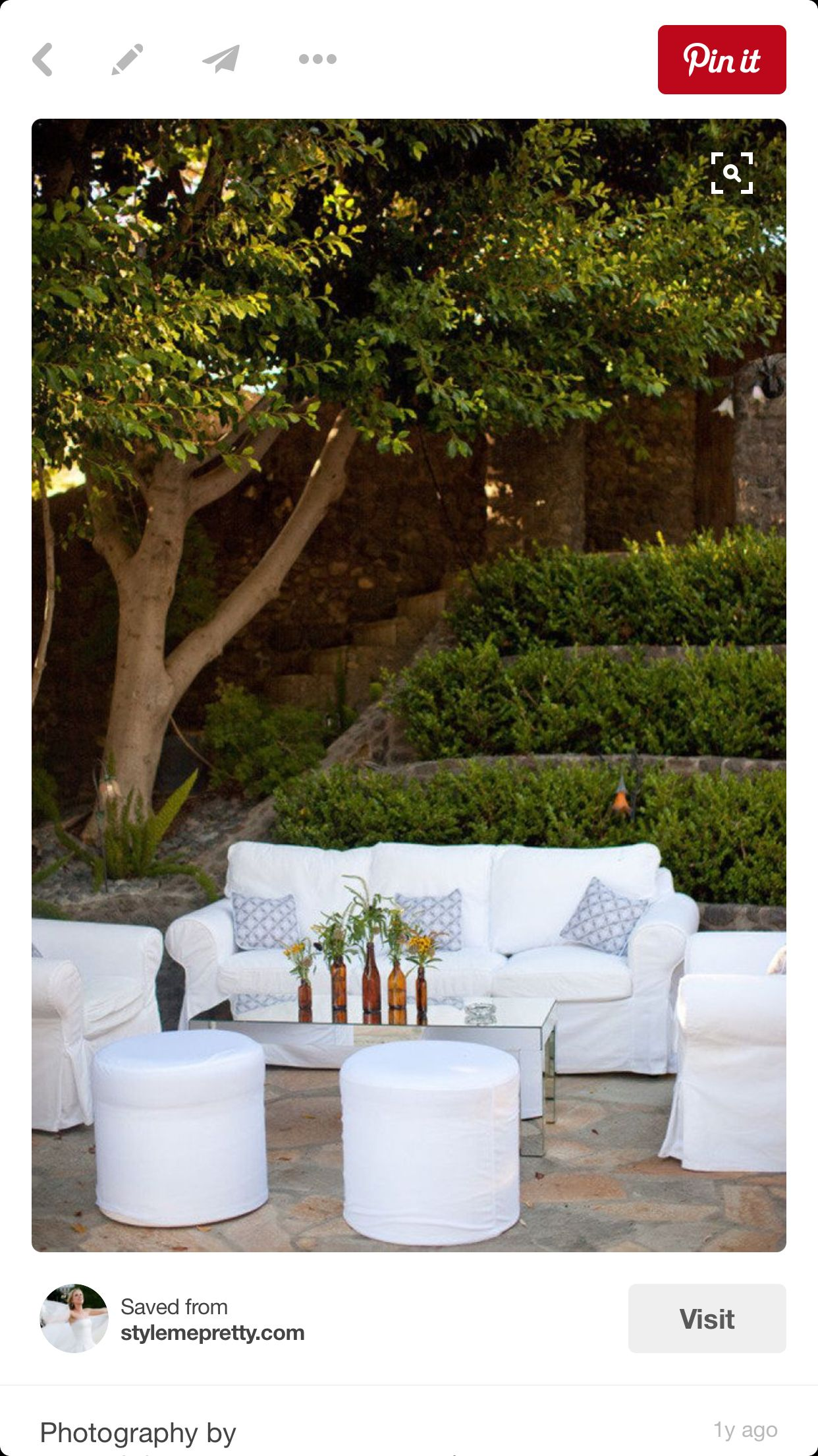 Outdoor lounge spring and summer event decor and lounge furniture
