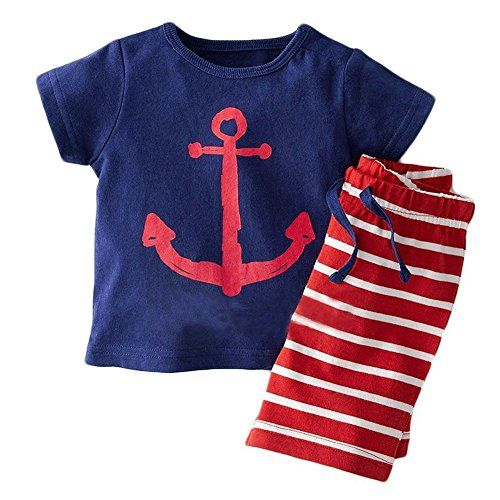 014e16f609f5 Evelin LEE Baby Boy Short Sleeve Tshirts and Stripe Shorts 2pcs Set ...