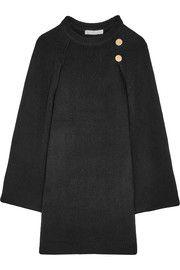 Cape-back wool and cashmere-blend mini dress