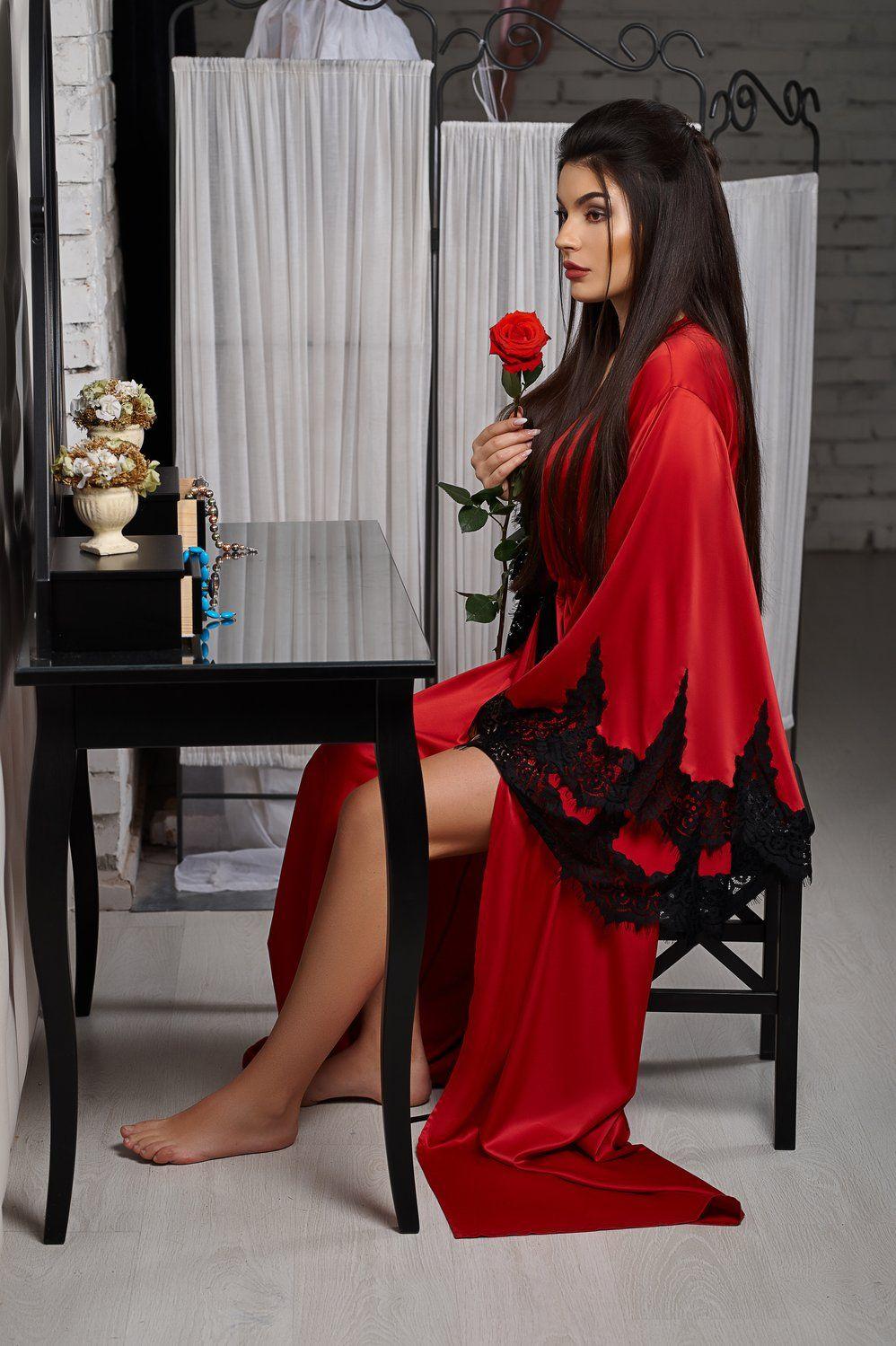 Royal red silk floor length robe night dress robe silkrobe