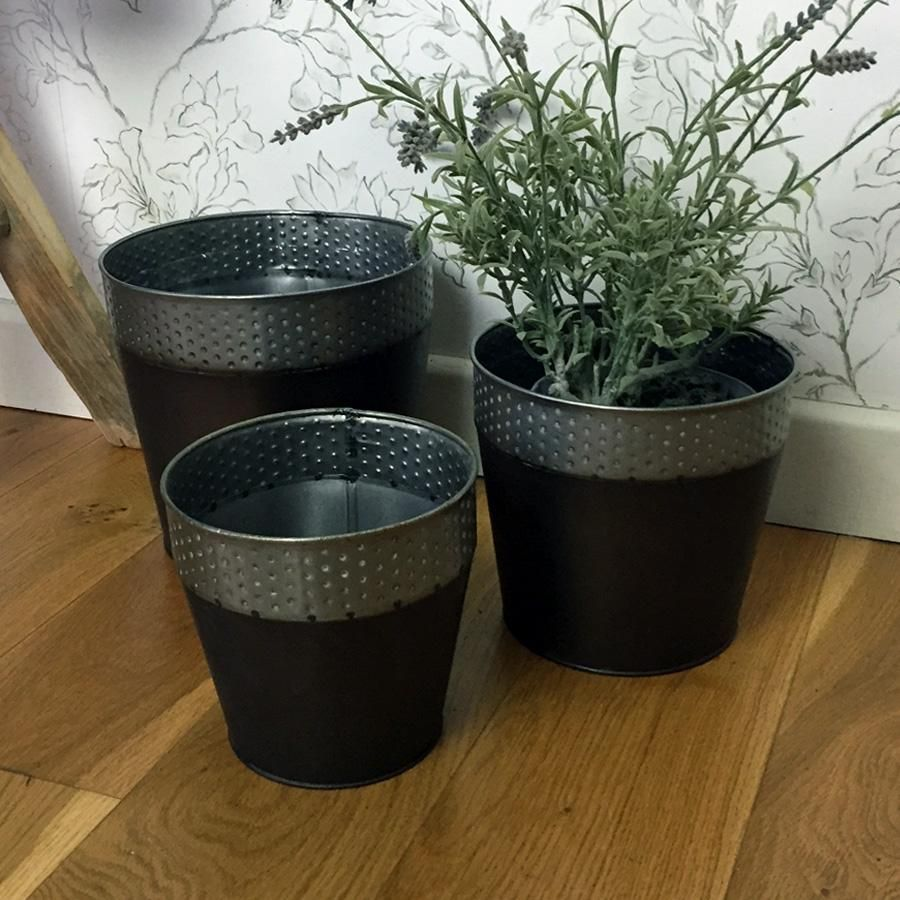 Rustic Metal Indoor Flower Pot Set
