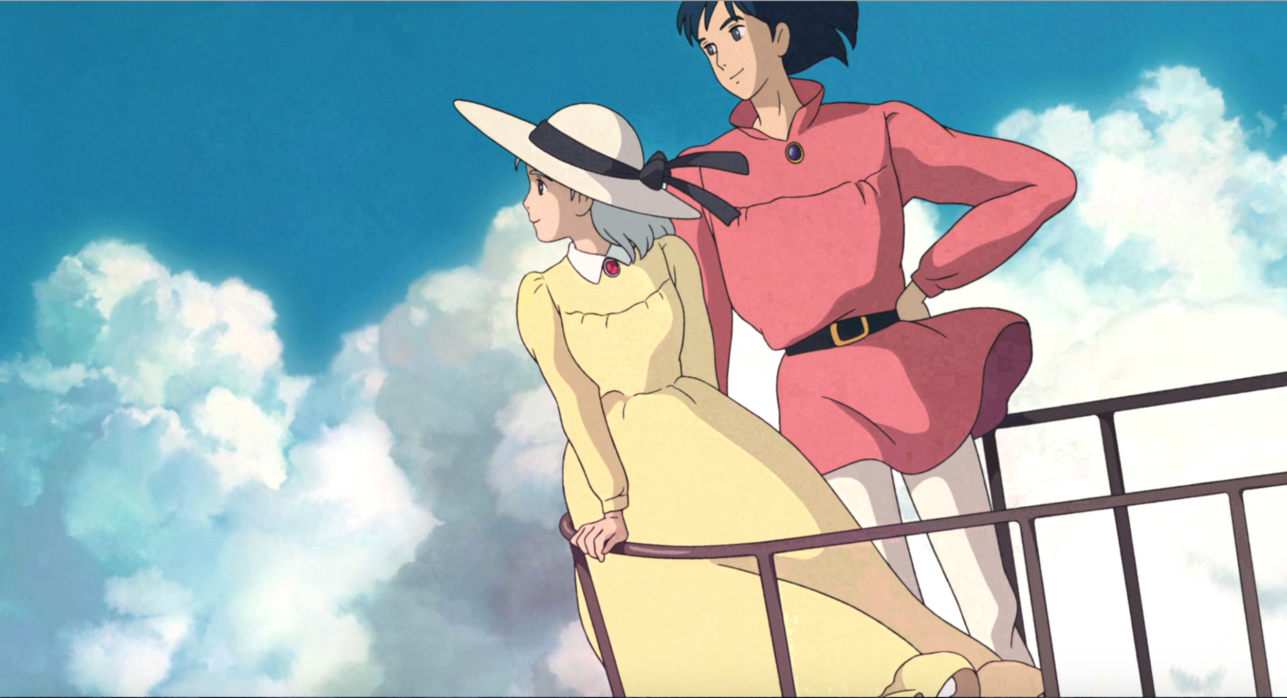 Sophie and Howl flying above the clouds in a happy ending