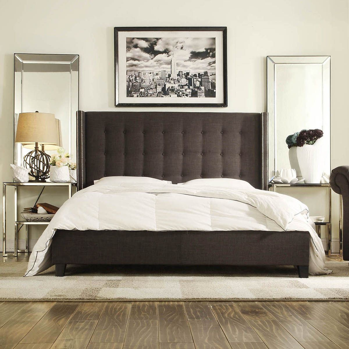 Queen Bed Frame Adelaide Inspire Q Marion Dark Gray Linen Nailhead Wingback Tufted
