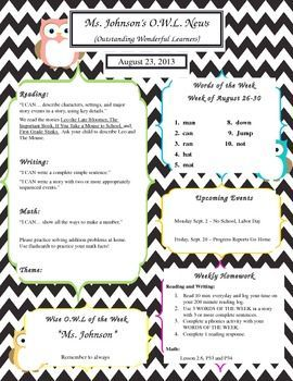 Owl Classroom Theme Templates  Owl Newsletter Template The Owls