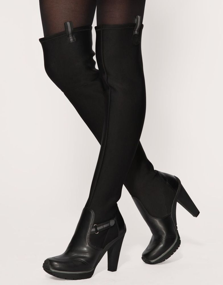 8d0c3e975f9 DKNY DONNA KARAN SHOES BROWNING STRETCH OVER THE KNEE BOOTS BLACK OTK 7.5  PULLON  DKNY  OTKBOOTS  CasualDressParty