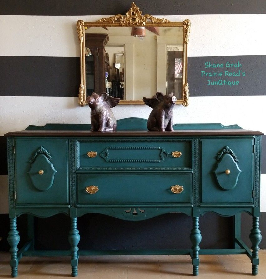 Teal Buffet Painted Furniture Refinishing Furniture Antiquing Furniture Diy