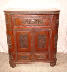 Asian carved wood buffet dry bar