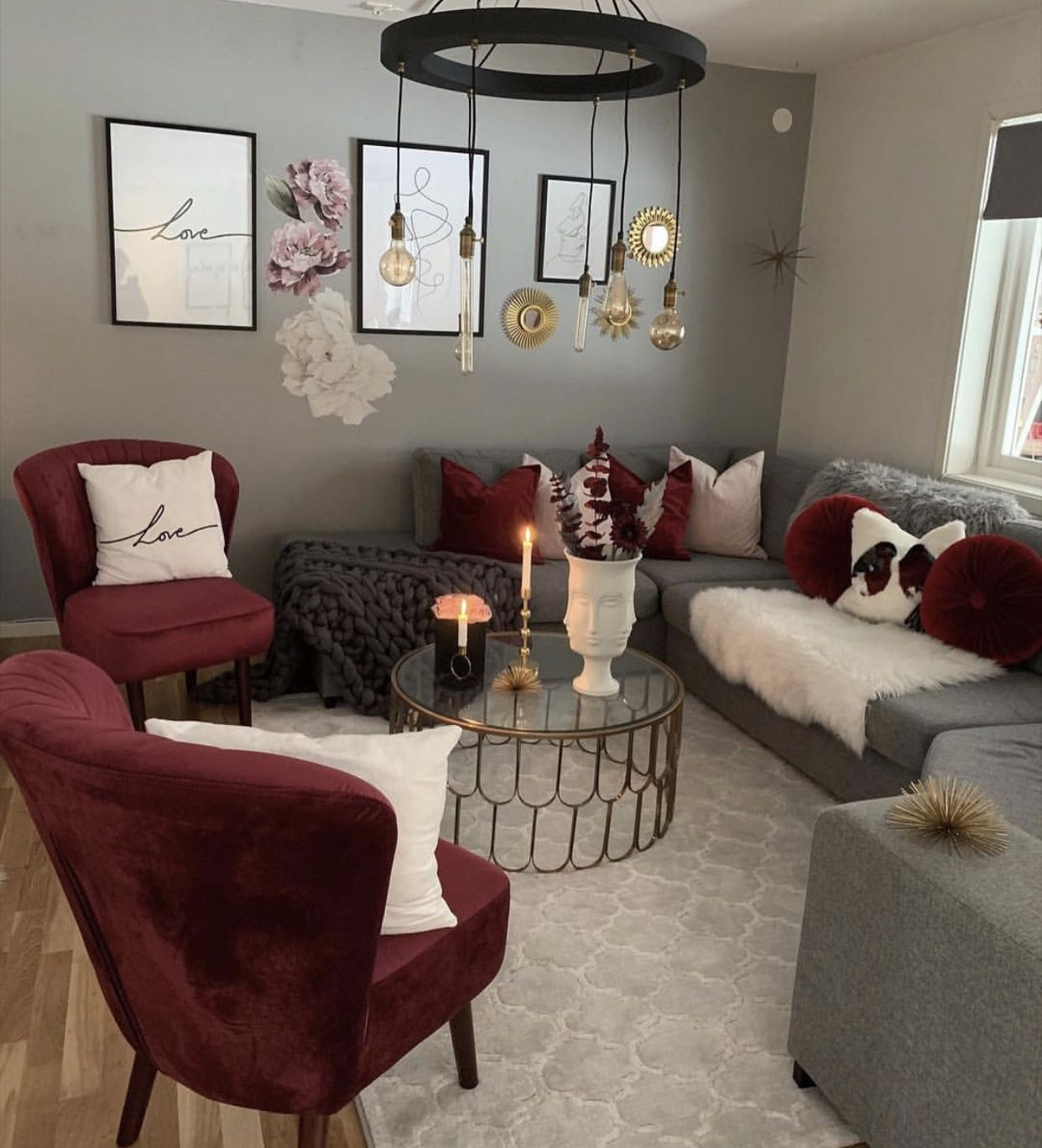 Maroon , Grey And White Living Room