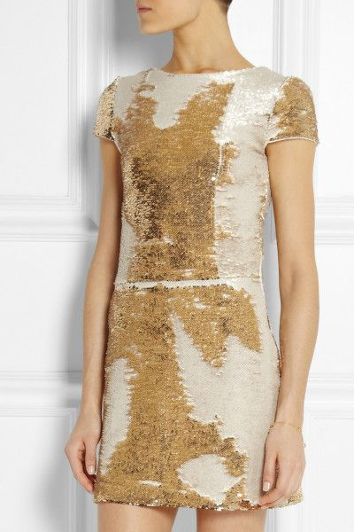 bdaa2e433c Maje Elisee Sequined Mini Dress in Gold - Lyst brush up the sequins become  white, down the sequins are gold.