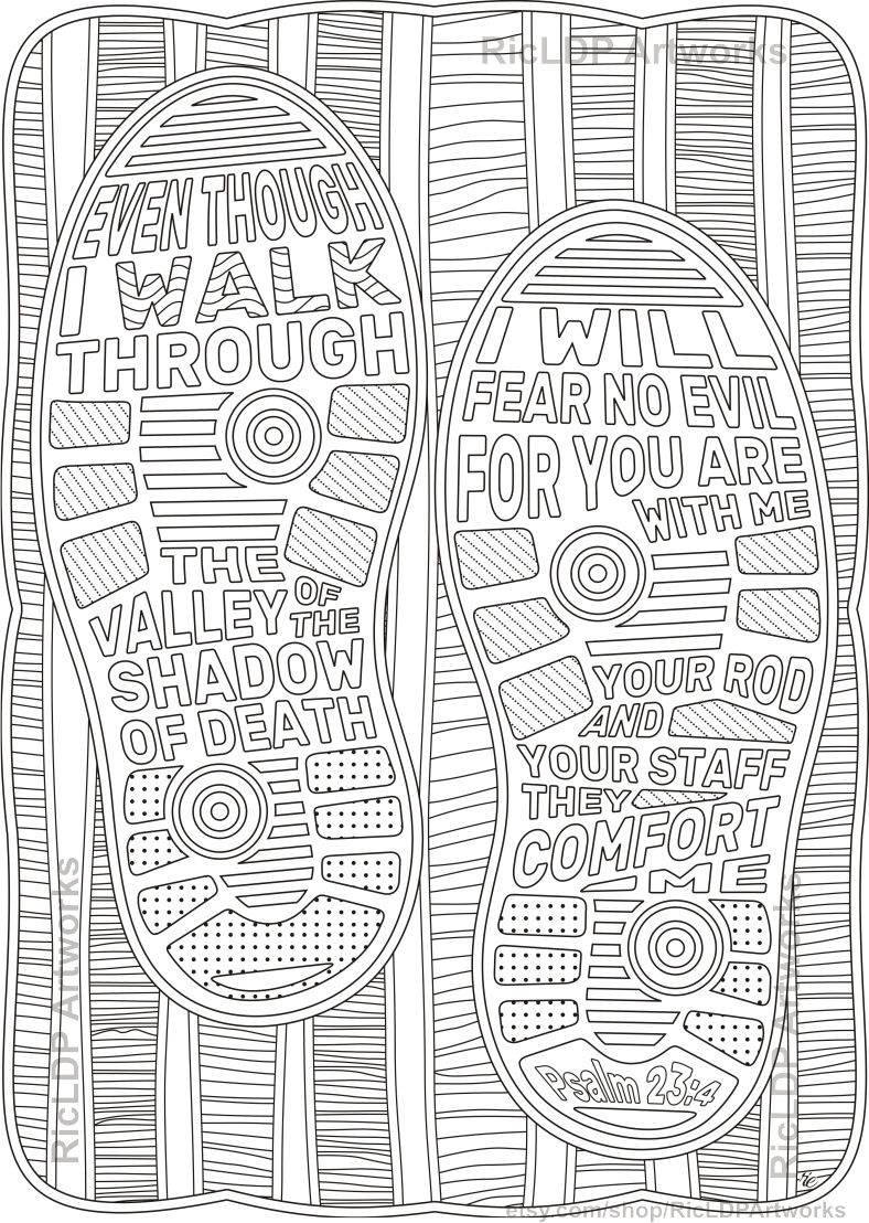 Set Of 2 Bible Coloring Pages Philippians 4 6 Psalm 23 4