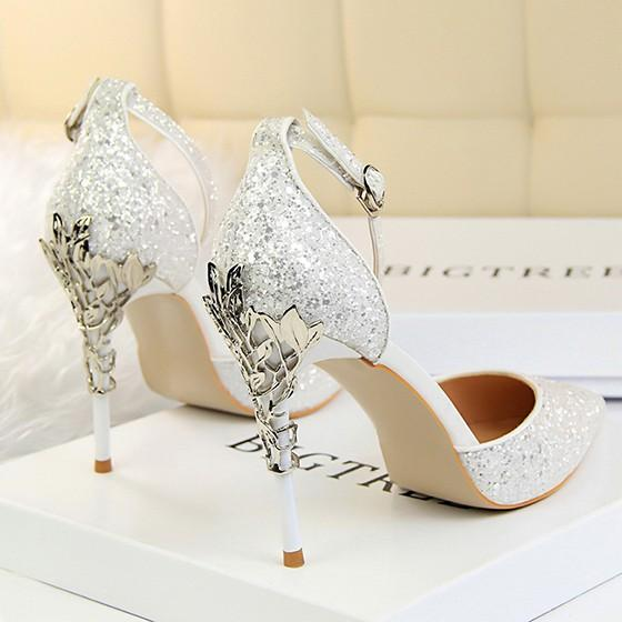 432bee96272 White Point Toe Stiletto Sequin Buckle Fashion High-Heeled Sandals ...