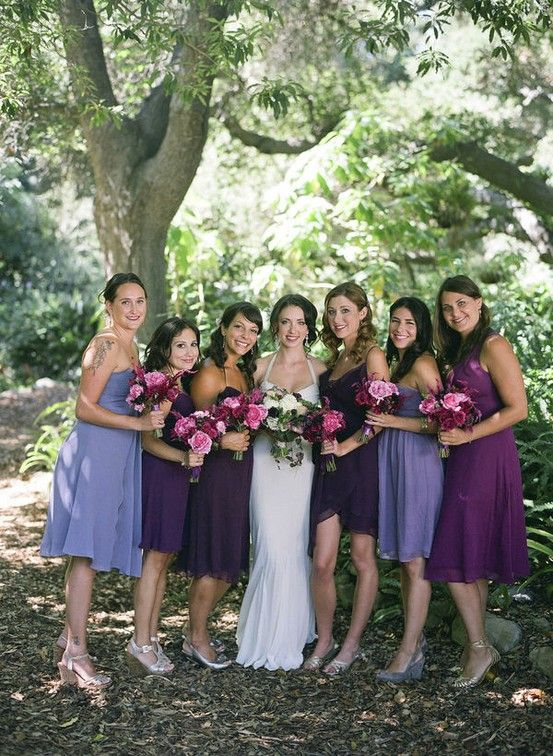 Purple Shades Of Mismatched Dresses