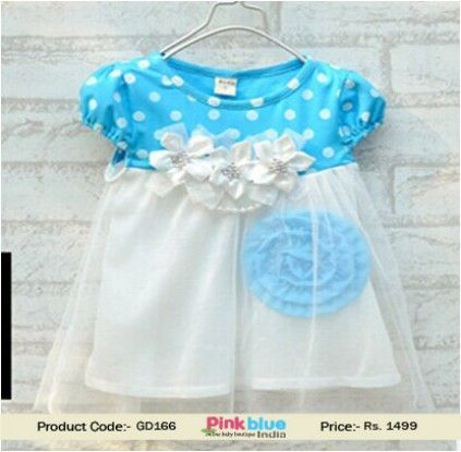 Infant Girl Sky Blue and White Party Dress With Flowers and Stone ...
