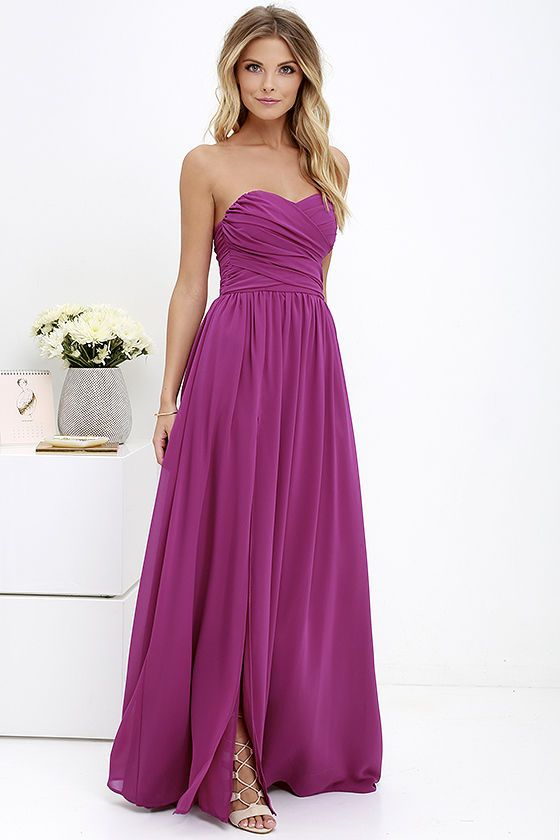 99701d446371 You'll be admired as soon as you set foot in the party wearing the Moonlight  Serenade Magenta Purple Strapless Maxi Dress! Draping woven poly fabric  adorns ...